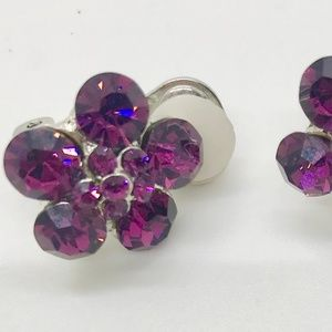 Jewelry - Purple Rhinestone Vintage Clip on earrings